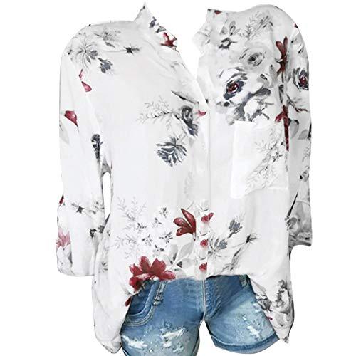 ZuzongYr - Camisetas para mujer, con bolsillo trasero, talla grande, manga larga, botones Blanco XXXL