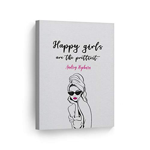 Smile Art Design Happy Girls are The Prettiest Quote by Audrey Hepburn Glam Fashion Canvas Print Wall Art Office Bathroom Teen Girls Room Women Dorm Bedroom Living Room Wall Decor Ready to Hang 12x8