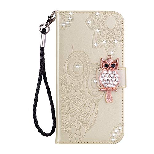 Amocase Wallet Case with 2 in 1 Stylus for iPhone 12 Pro Max 6.7',3D Bling Gems Owl Magnetic Mandala Embossing Premium Strap PU Leather Card Slot Stand Case for iPhone 12 Pro Max 6.7' - Gold