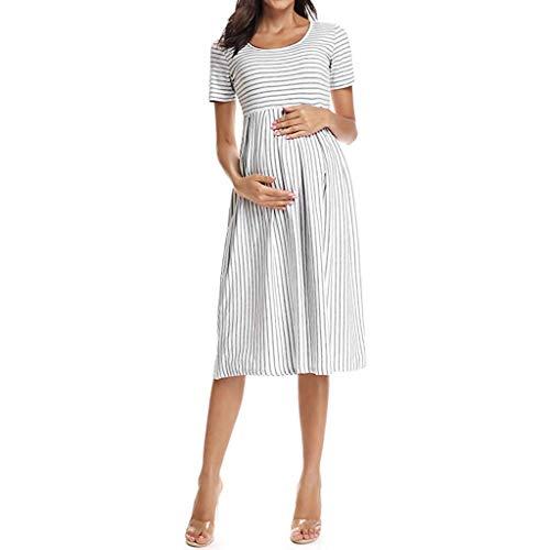RISTHY Vestidos de Maternidad, Ropa Mujer Embarazada Vestidos de Premamá Mujer Midi Vestido de Lactancia Rayas Cuello Redondo Mangas Cortas Casual Verano