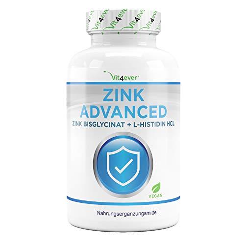 Zinc 25 mg - 400 comprimidos - Premium: Bisglicinato de zinc de Albion® + L-Histidina - Alta biodisponibilidad - Complejo de quelato - Probado en laboratorio - Vegano - Altamente dosificado