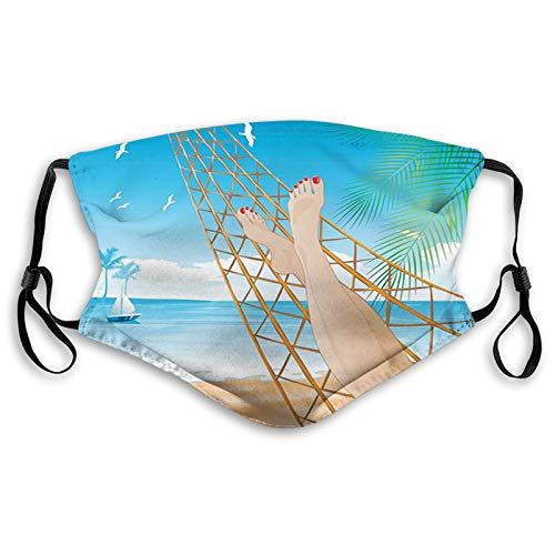 Stylish Face Mask with Replaceable Filters Activated Carbon Mask, Daily Use Washable Skin-Friendly Proof Dust Mask, Legs of The Sexy Lady Laying in The Hammock Toward The Ocean in Hawaiian Tropical