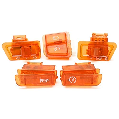 SHENLIJUAN 5pcs / Lot ciclomotor Girar el botón del Interruptor de la señal del Faro de la Motocicleta Cuerno atenuador de Arranque (Color : Naranja, Size : Gratis)