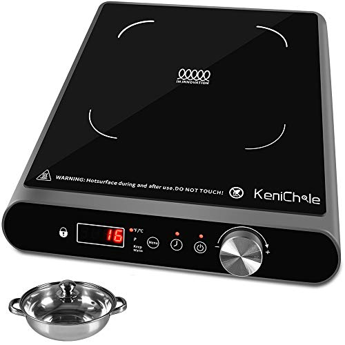 KeniChole Induction Cooktop 1800 Watts - ANTI-SKIP Cooking Surface, Portable Induction Burner with Timer, 10 Temperature, 8 Power Setting, Overheat Protection with Safety Child Lock, Electric Cooktop with Stainless Steel Cookware