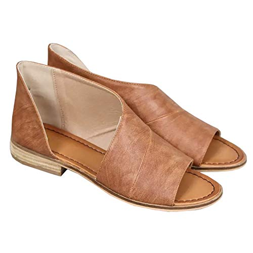 Huiyuzhi Womens Open Toe Flat Sandals Side Laser Cutout Sandal Ankle Booties Flats V brown 9 9.5 B(M) US