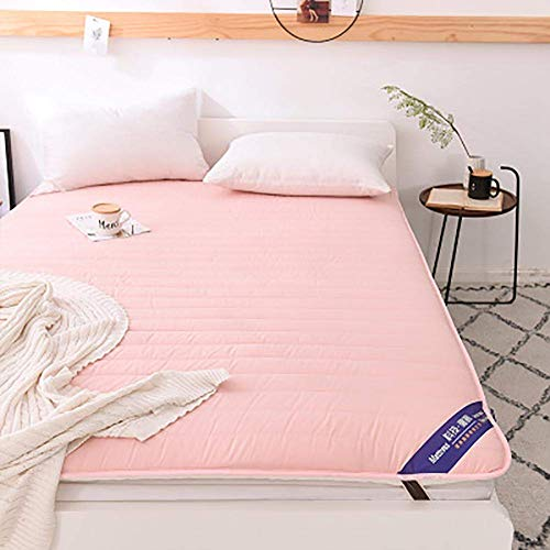 ZLJ Japanese Futon Mattress Topper traditional Shiki Futon Cotton Foldable Tatami Floor Mattress For Sleep And Travel Pink 120x200cm(47x79inch)