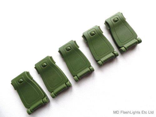 MD FlashLights Etc Ltd 5 X Vert Pom Sangle Molle Boucle pour Le Transport DE Charge/Fixation IDéAL pour BUSHCRAFT Survie &