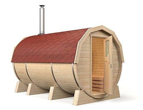 ISIDOR Fasssauna Maike Premium 3,60m, inkl. Holzofen Troll mit Vorraum, Espe-Saunaholz Bei Allen Innensitzbänken (Rote Dachschindeln)
