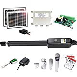 TOPENS A3S Automatic Gate Opener Kit Light Duty Solar Single Gate Operator for Single Swing Gates Up to 12 Feet or 300 Pounds Gate Motor Solar Panel