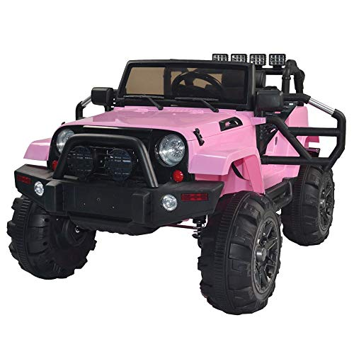 Electric Cars for Kids, Kids Toddler Ride On Cars 12V Battery Motorized Vehicles Children's Best Toy Car Safe with 3 Speeds, Music, seat Belts, LED Lights and Realistic Horns ( Color : Pink )