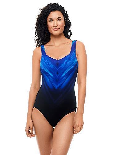 Reebok Women's Swimwear Sport Fashion Chevron Shield V-Neckline One Piece Swimsuit, Blue, 16