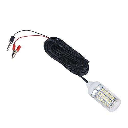 Vbest life Luz de Pesca, lámpara de luz de Pesca submarina LED Sumergible de 12V para Exteriores con Cable(luz Blanca)