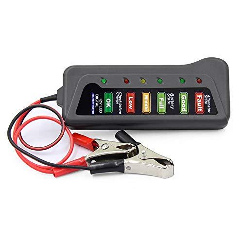 CROSYO 1 UNID MINI 12V TESTADOR DE BATERÍA DE COCHES DIGITAL ALTERNATOR TESTER 6 LIGHTES LED Pantalla Herramienta de diagnóstico de automóviles Auto Batería probador de batería para automóvil