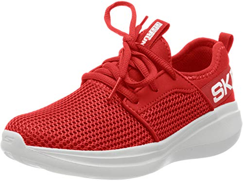 Skechers Jungen Go Run Fast Valor Sneaker, Rot (Red Textile/Red Synthetic/White Trim Red), 32 EU