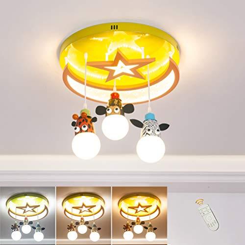 LED Deckenleuchte Sternendekor Kinderzimmerlampe, Karikatur Tier Design Kinder Decken Kronleuchter, Dimmbar mit Fernbedienung, 3-Flammig, E27 Deckenlampe für Junge Mädchen Schlafzimmer Wohnzimmer
