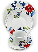 Winds Gulf Trading Dinner Set of 20Pcs, White, Porcelain- Red Flower