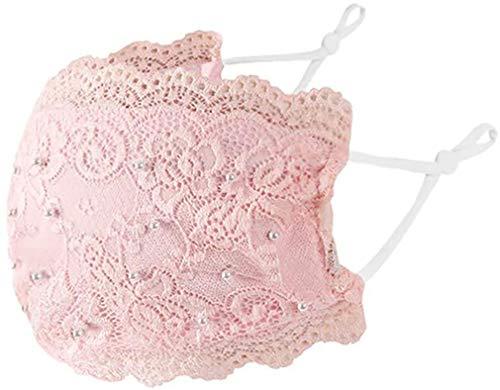 eBoutik - Elegante maschera per il viso in pizzo con perle – Rivestimento alla moda – Riutilizzabile e traspirante, lavabile (rosa)