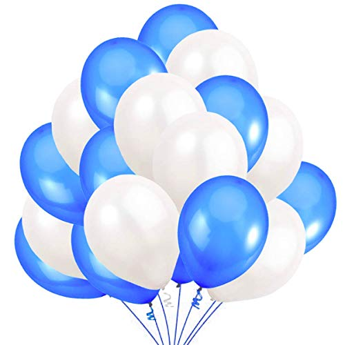 Jonami 50 Luftballons Blau Weiß Ballon Premiumqualität 36 cm Partyballon Deko Dunkelblau 3,2g. Dekoration fur Geburtstags , Baby Dusche Party, Baby Shower
