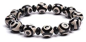 Feng Shui Armband, Natürliches Amulett Schwarz Weiß Tibetisch 3 Auge Dzi Perlen (14Mm) Armband Reichtum Armband Positive Energie Und Viel Glück