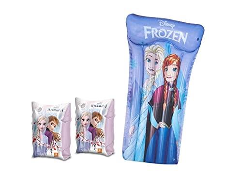 Set Infantil para Piscina de Frozen. Colchoneta Hinchable y Manguitos hinchables. Buen Vinilo, Resistente al Agua y Rayos UV. con válvulas de Seguridad para la máxima Seguridad de los niños.