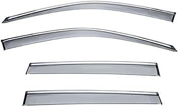 WellVisors Honda Pilot 16-17 Sleek Side Window Visor Smoke Chrome Trim Clip On
