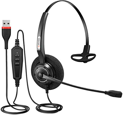 Arama USB Headset PC für Business Home Office Skype Computer SoftPhone Call Center, PC Kopfhöre mit Mikrofon Noise Cancelling Klar Chat, Ultra Komfort