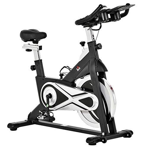 homcom Cyclette Spinning Professionale Altezza e Resistanza Regolabile con Supporto per Cellulare