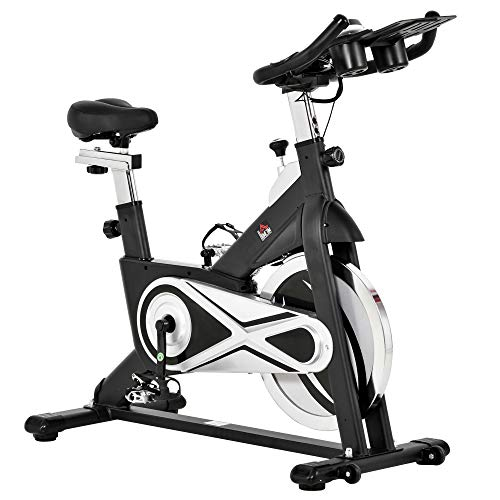 homcom Cyclette Spinning Professionale Altezza e Resistanza Regolabile con Supporto per Cellulare, 2 Ruote e Display LCD, Volano 18kg, Nero