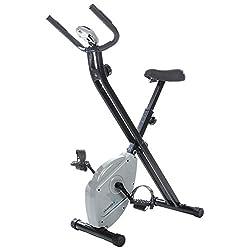 skandika Foldaway X-1000 Lite Fitnessbike Heimtrainer X-Bike F-Bike Klappbar mit Handpuls-Sensoren, 8-stufiger Magnetwiderstand, LCD Display max. 110kg Grau/Schwarz