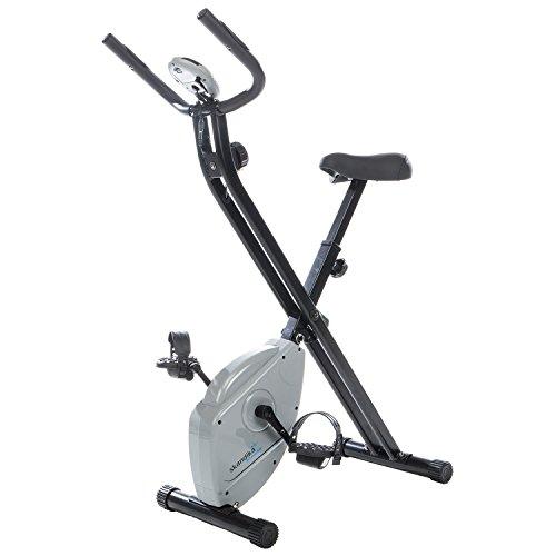 Skandika Foldaway X-1000 Lite - Cyclette Domestica - frequenzimetro - 8 Livelli Resistenza - carico Massimo 110 kg - Volano 2 kg - Grigio