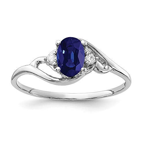 14k White Gold 6x4mm Oval Sapphire and Diamond Ring, Size 6