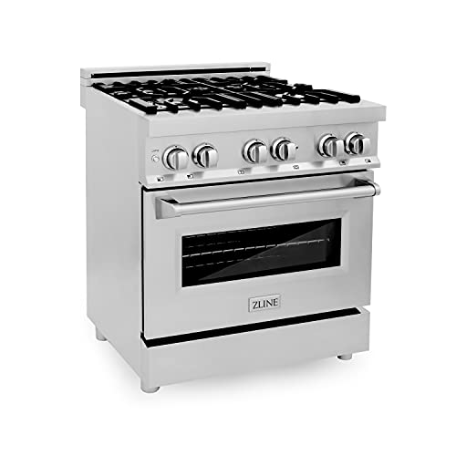 """ZLINE 30"""" 4.0 cu. ft. Dual Fuel Range with Gas Stove and Electric Oven With Color Option (RA30) (Stainless Steel)"""