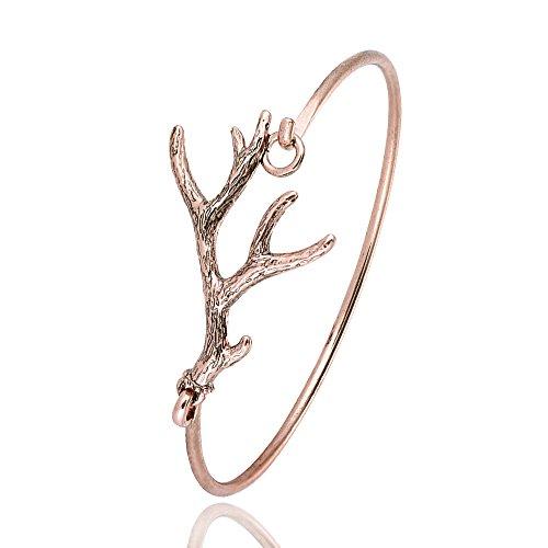 RUXIANG Deer Antlers Vintage Cuff Bangle Bracelet for Women Girls (Rose Gold)