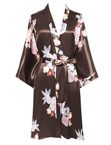 BABEYOND Damen Morgenmantel Kurz Blumen GedruKt Bademantel Satin Kimono Kleid Damen Sommer Robe Leicht Schlafmantel Sexy Nachtwäsche (Kaffee)