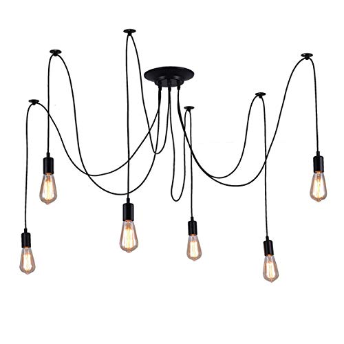 Barcelona LED Lámpara de araña colgante negro de suspensión Estilo Vintage retro con Cable textil, 6 brazos portalámparas E27 LED, para techo comedor habitación salón cocina comedor bar