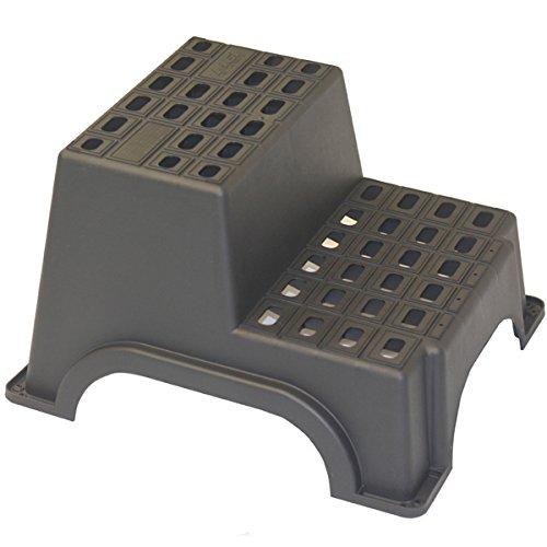 Siehe Beschreibung MGI Trittstufe für Wohnwagen 2-stufig bis zu 200kg Maximalgewicht, 61x52x37cm: Trittleiter Einstieg Stufe Wohnmobil Treppe Doppel
