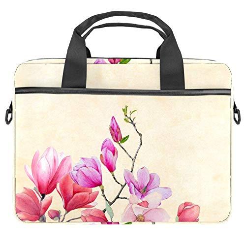 Laptop-Umhängetasche 38,1 cm Aktentasche Dokumententasche Messenger Bag mit Griff & Schultergurt Magnolia Flower Altes Papier