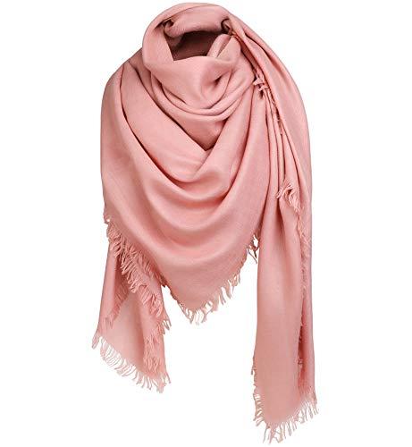 Alleza Bufanda para Mujer Invierno Chal Manta Mantón Fular Pañuelo Lino y Algodón Color Puro con Borlas 140 * 140cm