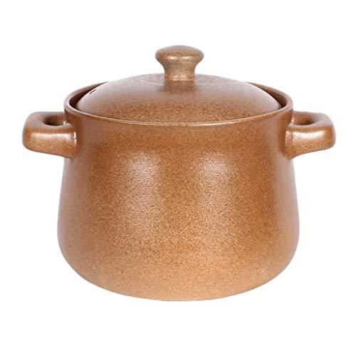 DHTOMC Olla de Sopa de cerámica Pura binaural Pote de Sopa de cerámica, Plato Negro Redondo cazuela, Arcilla Xping