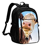 IUBBKI Bolsa para computadora mochila USB Funny Cow at The European Alps Office & School Supplies with USB Data Cable and Music Jack Laptop Bags Computer Notebook 18.1X13.3 inch