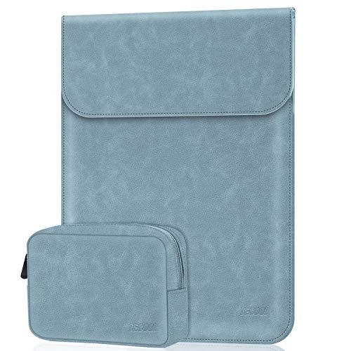 TECOOL 13-13,3 Zoll Laptop Hülle Tasche mit Zubehörtasche Faux Leder Schutzhülle für 2010-2017 MacBook Air 13 A1466/A1369, MacBook Pro 13 A1502/A1425, Matebook D 14, 13.5 Surface Laptop, Dunst Blau