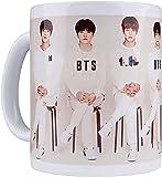 KEROTA Taza de café de cerámica coreana Bangtan Boys Tazas estéticas A.R.M.Y taza de té con mango-blanco