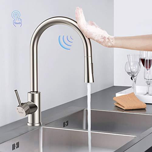 Synlyn Grifo de cocina con sensor táctil, grifo de cocina extraíble con ducha doble, grifo mezclador giratorio de 360 °, grifo de cocina de acero inoxidable 304, mezclador de una sola palanca