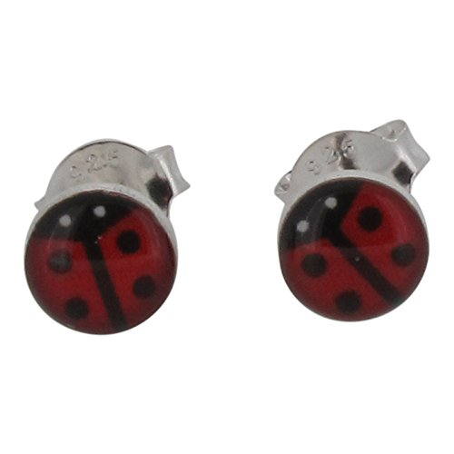Touch Jewellery - Pendientes de plata de ley 925 con diseño de mariquita hecha con resina, y cierre a presión (mariposa)