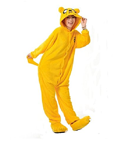 Adventure King König Jake Dog Hund Finn onesiee Kigurumi Pyjama Karneval Kostüm Maskenkostüm Kapuzenpulli Schlafanzüge Weihnachtsgeschenk (jake the dog, XL(height 180cm-190cm))