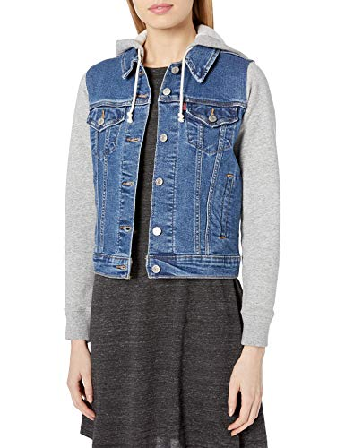 Womens Denim Jean Indiglow Trucker Jacket with Hood