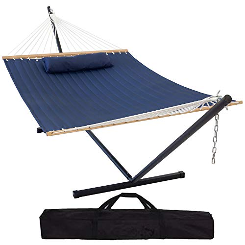 Orlivo Outdoor Large Double Hammock with Stand 2 Person Heavy Duty, Quilted Navy Blue Hammock with Spreader bar and Cushion. Freestanding, Portable 15ft Steel Stand with Carry case.