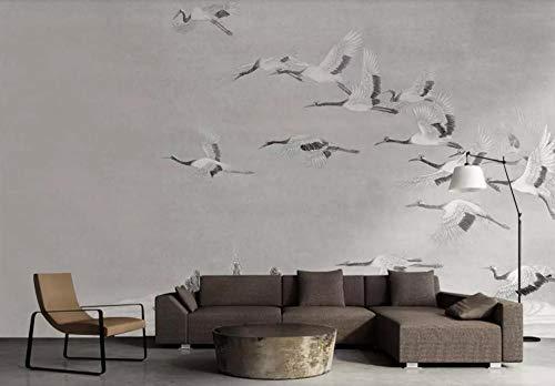 Tapete 3D Wandbild Chinesischer Kran Fliegen Fototapete 3D Effekt Vliestapete Wohnzimmer Wanddeko
