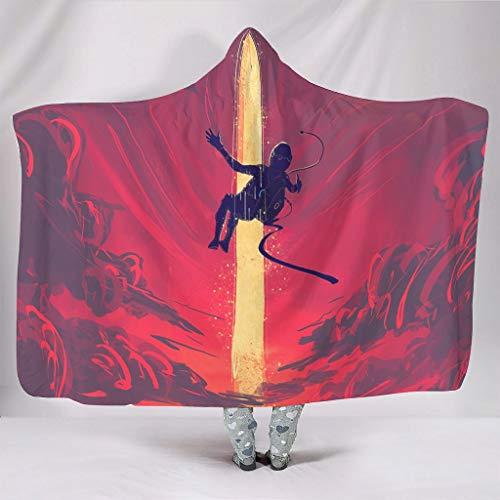 Zacht met capuchon deken fantasie de vallende astronaut rode wolken licht plek kunstwerk druk warmer winter Sherpa fleece abstract Big Blanket Cape slapen bank slaapkamer