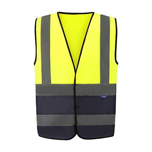 6 Farben Auto Warnweste, Sicherheitsweste, Pannenweste für Auto, Fahrrad, Waschbar, Knitterfrei Herren Auto (XL, Gelb+Marineblau)